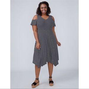 Lane Bryant black/white stripe cold shoulder dress